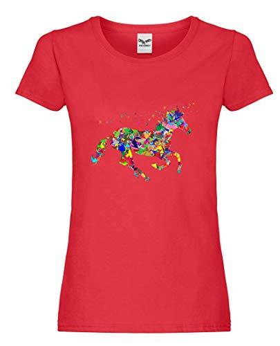 Camiseta – Colorida Prismática cromática arco iris – Camiseta para mujer y mujer rojo XS