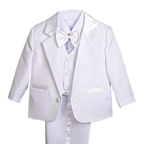 Dressy Daisy Baby Boy' 5 Pcs Set Formal Tuxedo Suits No Tail Wedding Christening Outfits Size 6 Months White