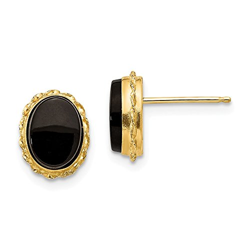 14k Yellow Gold Bezel Black Onyx Post Stud Earrings Fine Jewelry For Women Gifts For Her