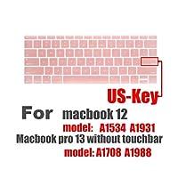 ラップトップキーボードカバーfor Macbook 12キーボードステッカープロ13ラップトップアクセサリーA1534 A1931 A1708 A 1988 for Macスキン-Rose gold-
