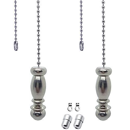 SPTwj Doric Zugkette für Lichterketten, Zugschnur, Edelstahl, für Badezimmer, WC-Licht, Deckenleuchte, Ventilator, Schalter mit Steckern und Eichel-Zubehör, 2 Stück