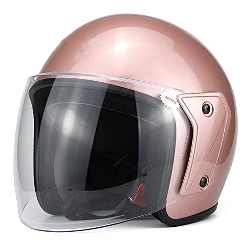 LPXPLP Casco Moto Jet Casco Moto Abiert Casco Casque De Moto Ciudad Media Cara Casco De Protección Cascos Casco De Motocicleta 3/4 Unisex Certificado ECE/Dot A,L=55-60CM