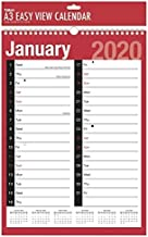 2020 A3 Extra Wide 2 Column Month To View Spiral Bound Wall Planner Calendar