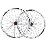 Montaña Llantas Bicicleta Rueda, 26 Pulgadas Rueda de Bicicleta Llanta de Aleación de Doble Pared, Liberación Rápida 8/9/10/11 Velocidades,White_Red