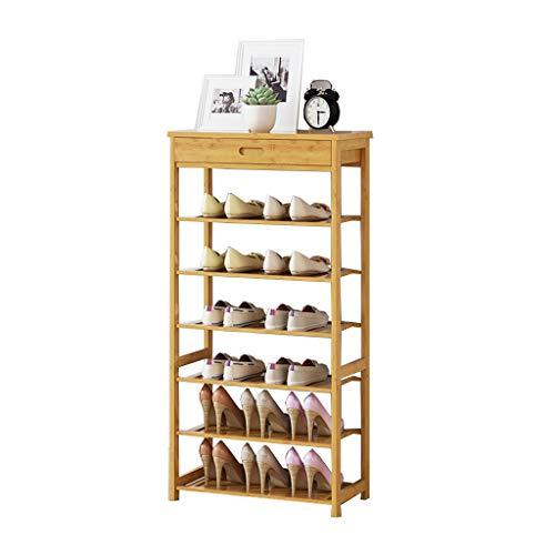 Home Porte-Chaussures en Bambou sur Pied | 3/4/5/6 Niveau | Bois | Placards et Salle de Bains entrée | Organisateur | avec tiroir | Étagère multifonctionnelle