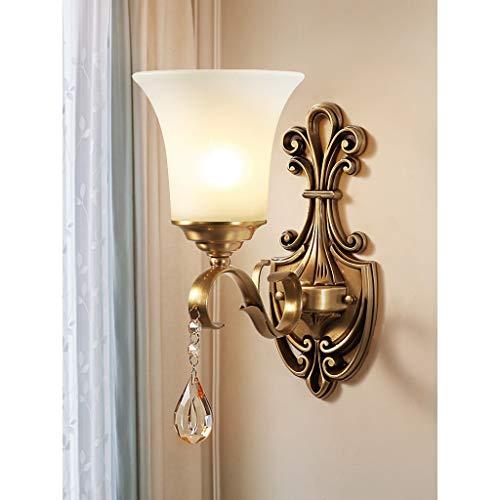 Applique murale en laiton rustique antique, abat-jour en verre en albâtre blanc, applique murale décorative pour appareil d'éclairage pour le couloir de la chambre à coucher A+ (taille : 1 light)