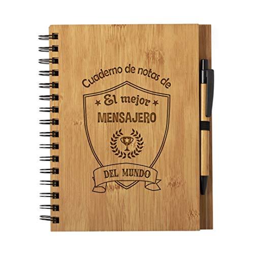 Cuaderno De Notas El Mejor Mensajero Del Mundo - Libreta De Madera Natural Con Boligrafo Regalo Original Tamaño A5