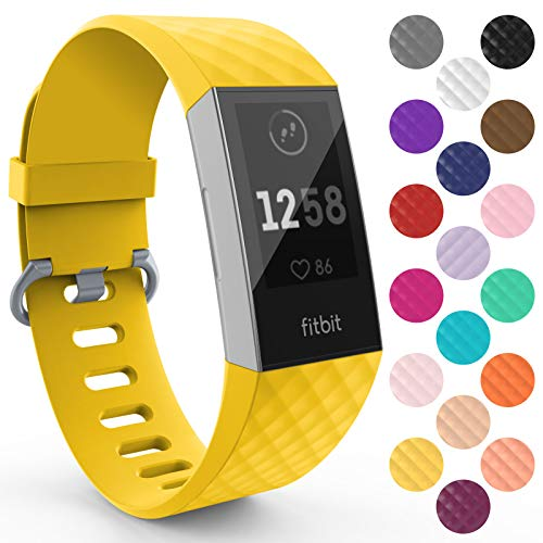 Yousave Accessories Fitbit Charge 3 Armband, Silikon Ersatzarmband für Fitbit Charge3 Fitness Tracker, Sport Schrittzähler Armband, Fitbit Charge 3 Armbänder - Groß - Mellow Yellow