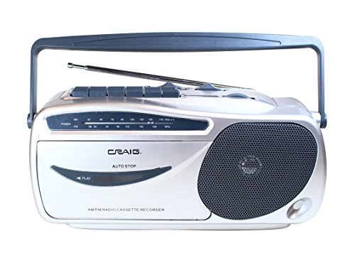 Craig CD6911 Portable Cassette Player/Recorder with AM/FM Radio in Silver and Black   AC / DC Operation   Headphone Jack Supported   Cassette Recorder   Rod Antenna  