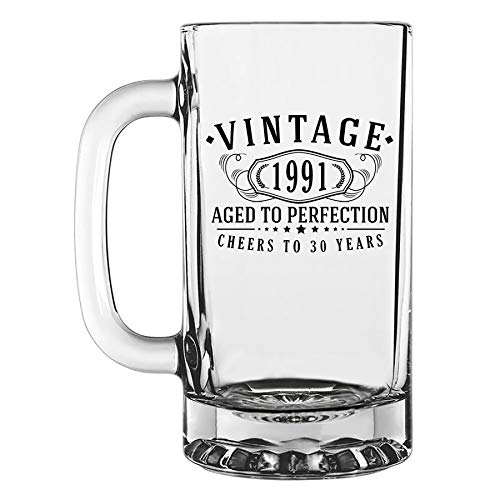 Vintage 1991 Printed 16oz Glass Beer Mug, 30th Birthday Aged to Perfection, 30 years old gifts