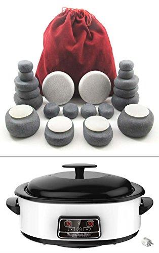 MassageMaster KIT MASSAGGIO HOT STONE: 24 Pietre di Basalto e Marmo, Riscaldatore Digitale di 6 Litri
