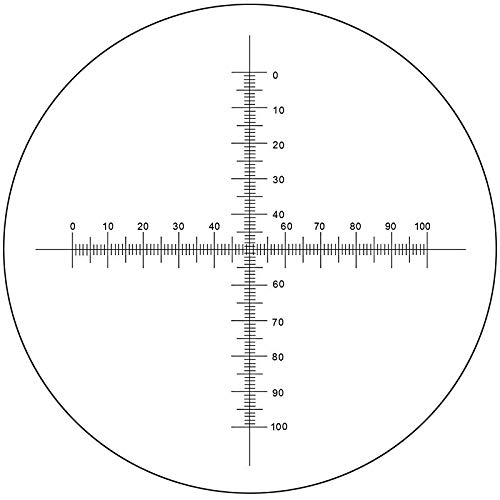 BoliOptics Microscope Eyepiece Reticle Cross Line Micrometer Ruler, Dual Axis Crosshair Scale Dia. 20mm, 10mm/100 Div. RT20104122