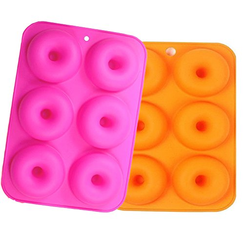 6-Cavity Silicone Donut Molds Set of 2, Non-Stick Full-Sized Safe Baking Tray Maker Baking Pan for Cake Biscuit Bagels Muffins- Heat Resistance.