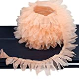 MIPPER 20 Meters Ruffle Chiffon Lace Trim Tulle Lace Edge DIY Material Crafts Clothing Skirt Decoration (Champagne)