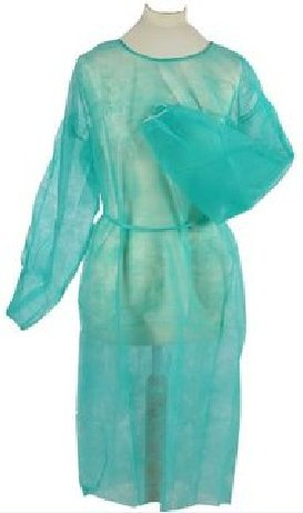 ASID BONZ - Camice usa e getta in tessuto non tessuto, con cintura, 120 x 140 cm, 10 pezzi, colore: Verde
