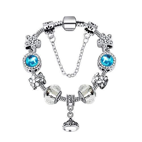 Y-longhair Pulsera nacional del viento Corona anillo colgante, Europa y América del bricolaje creativo granos de cristal de cuentas y accesorios de plata de 21 cm de largo Bottom + perlas azules