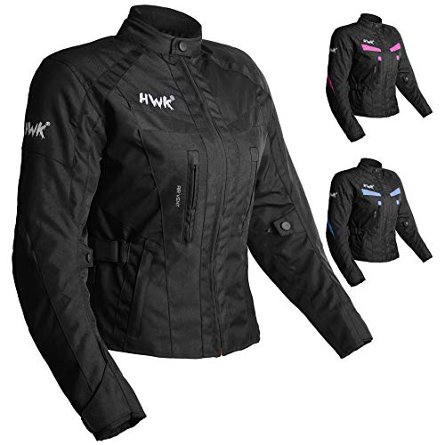 Women's Motorcycle Jacket For Women Stunt Adventure Waterproof Rain Jackets CE Armored Stella (All-Black, L)