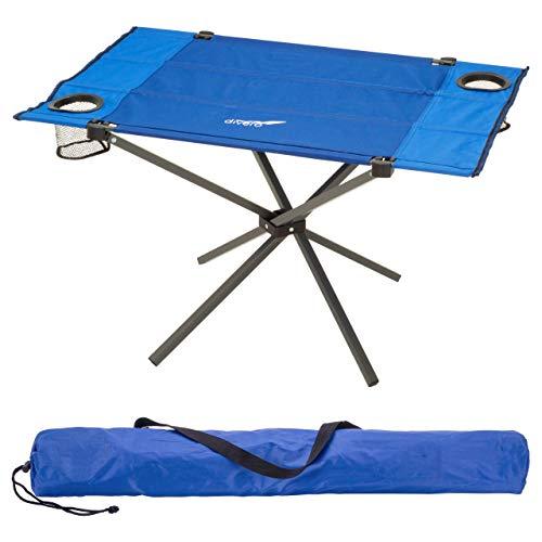 Divero Campingtisch Falt-Tisch faltbar mit Getränkehalter und Transport-Tasche – Polyester Aluminium – Farbe: Rahmen hellgrau - Bespannung blau