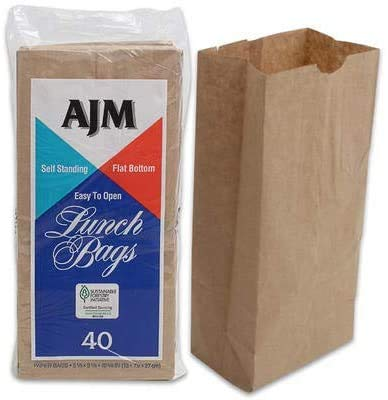 AJM Brown Paper Lunch Bags 40 Count