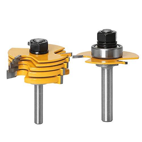 Gasea 8mm Jeu de Forets de Toupie à 3 Ailes Réglables Router à Rainure Bits Fraise à Bois Mèche de Menuiserie Routeur T Forme Avec 6pcs Lame de Coupe 1,8mm, 2,5mm, 3mm, 4mm, 5mm, 6,35mm
