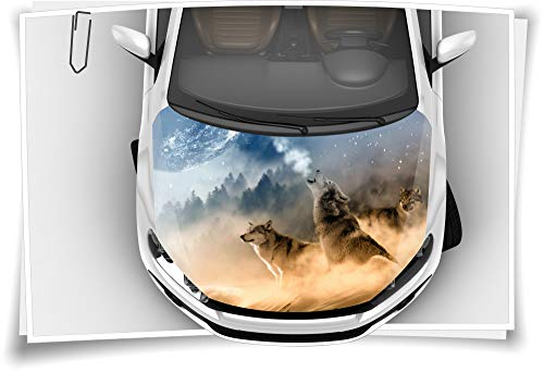 Medianlux Motorhaube Auto-Aufkleber Wölfe Wald Mond Nebel Wildnis Steinschlag-Schutz-Folie Airbrush Tuning Car-Wrapping Luftkanalfolie Digitaldruck Folierung