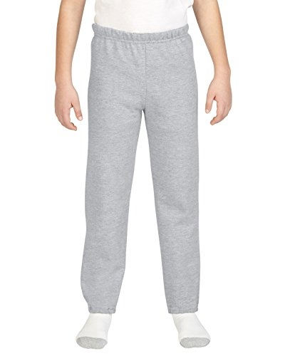 Gildan Pantalones de chándal para niños con Parte Inferior elástica, Gris (Sport Gray), Medium