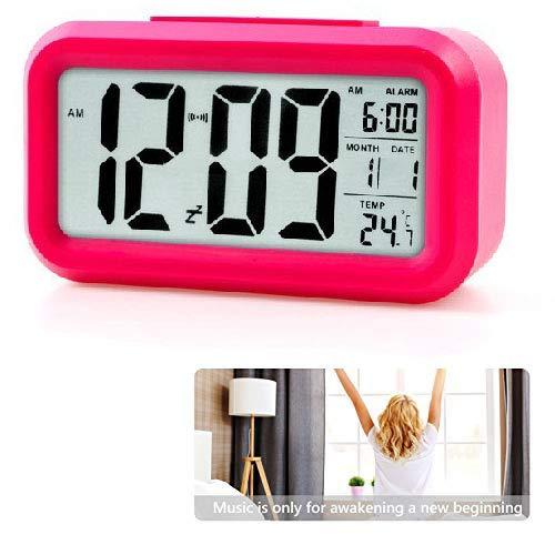 Smart Digitaler Wecker, Dimmbarer Intelligenter Nachtlicht Digitaler Wecker,Schlummerfunktion Datum Temperatur Anzeige,für Erwachsene & Kinder(Rot)