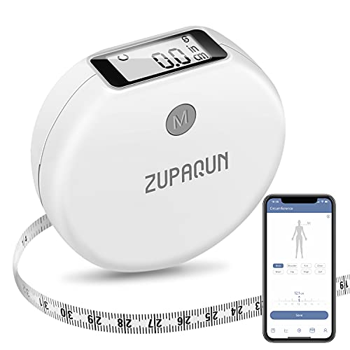 Smart Body Tape Measure with App, ZAPAQUN Bluetooth Measuring Tapes for Body Measuring, Body Part Circumferences, Weight Loss, Fitness Bodybuilding, Muscle Gain, LED Display, Inches & Centimeters