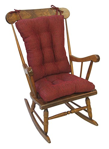 Klear Vu Tyson Extra Large Fabric Rocking Cushions Chair Pad Set, Red