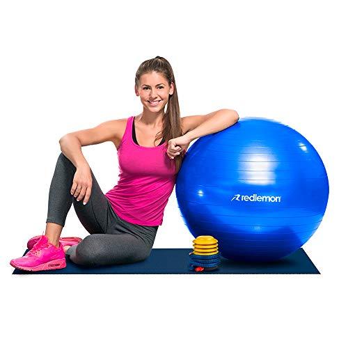 Redlemon Pelota para Pilates y Yoga de Resistencia Estática, Textura Antiderrapante. Incluye Bomba de Aire, Ideal para Ejercicios de Estabilidad, Equilibrio y Abdomen (65 cm diámetro)