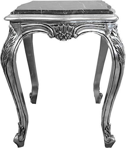 Casa Padrino Barock Beistelltisch Silber mit schwarzer Marmorplatte 52 x 52 x H. 65 cm -...