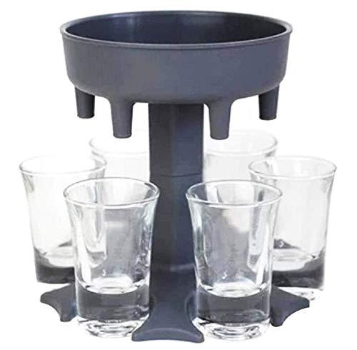 Sheng 6 Schnapsglas-Ausgießer und Halter, mehrere 6 Schnapsspender Ausgießer für Likör, Scotch, Bourbon, Wodka, Cocktail-Shots Spender Bar Schnapsspender (grau)