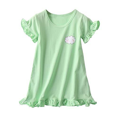 JWWN Little Girls Princess Nightgrown Cotton Sleepwear Kids Pajama Dresses,Green,3T