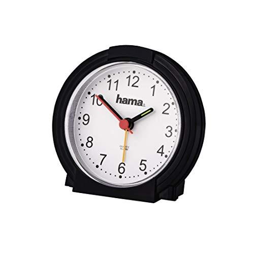 Hama analoger Wecker ohne Ticken (batteriebetriebene Uhr mit Alarmfunktion, Wecker mit Licht, fluoreszierender Stunden- und Minutenzeiger, einstellbare Alarmzeit, 12,5 x 6,5 x 17 cm) schwarz