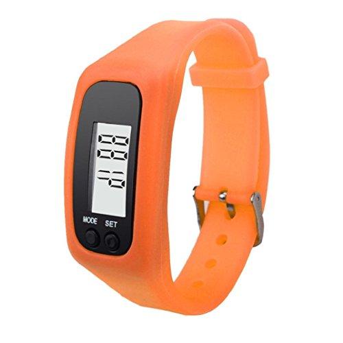 Armband Herren Damen Kolylong Unisex LCD Pedometer Schrittzähler Entfernung Kalorienberechnung Armband Orange