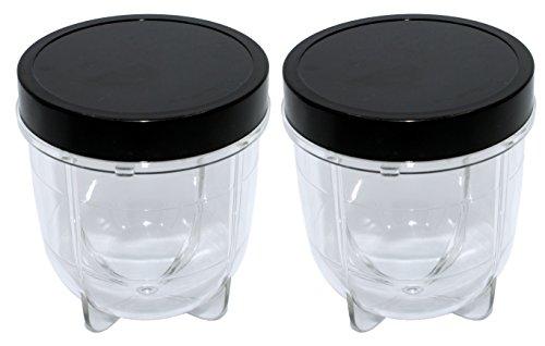 Blendin 2 Pack Short Cup with Black Jar Lid, Compatible with Original Magic Bullet Blender Juicer MB1001 250W