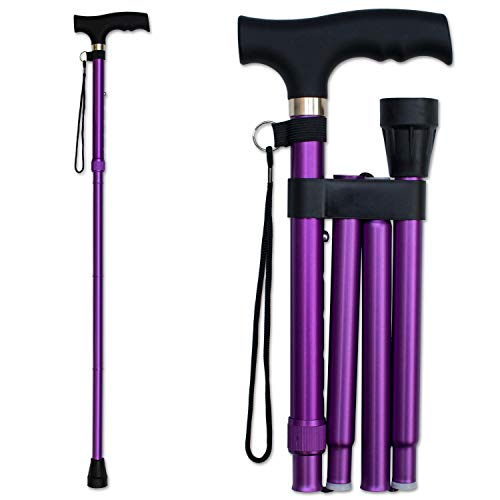 RMS Folding Cane - Foldable, Adjustable, Lightweight Aluminum Offset Walking Cane - Collapsible Walking Stick with Ergonomic Derby Handle - Ideal Daily Living Aid for Limited Mobility (Lavender)