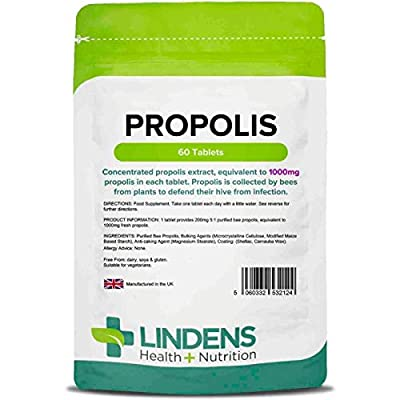 Lindens Propolis 1000mg Tablets - 60 Pack - Popular Food Supplement Used Traditionally for Thousands of Years As A Convenient Extract in A One-a-Day Tablet - UK Manufacturer, Letterbox Friendly