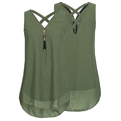 Women Loose Sleeveless Tank Top Backless Cross Tie Sleeveless Vest Top Hem Layed Zipper V Neck T Shirts Tops Sexy Casual Spaghetti Crossed Cami