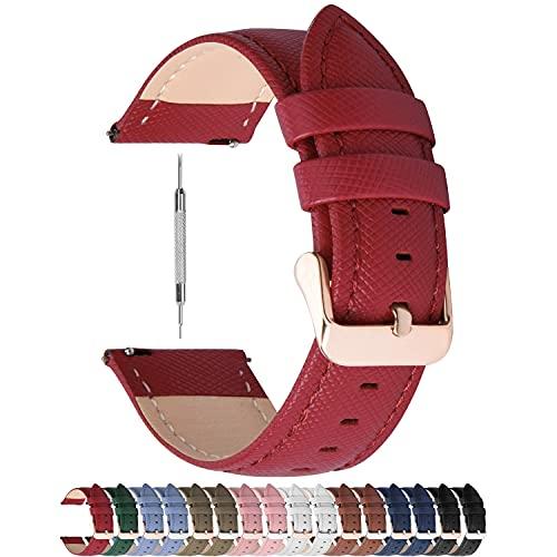 Fullmosa Uhrenarmband 20mm, Cross Leder Ersatzband für Samsung Galaxy Watch 42mm/Huawei Watch 2, Rot + Roségold Schnalle