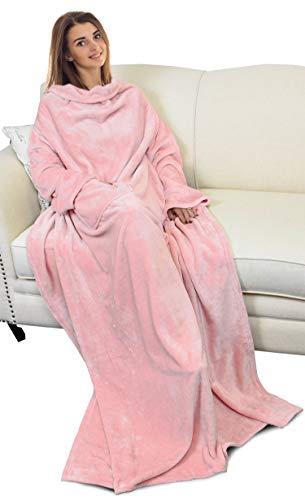 Catalonia TV-Decke mit Ärmeln und Tasche, Flauschig Weiche und Warme Tragbar Kuscheln Snuggle Decke Mikrofaser-Ärmeldecke Robe ideal für Frauen und Männer, 185 cm x 130 cm, Rosa