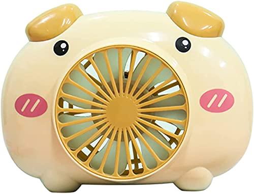 DLRBDMM Ventilador de cuello callado de la historieta linda del cerdo, ventilador de refrigeración de la mesa de escritorio portátil con alimentación por usb, ajuste Mini fan para mejor enfriamiento d