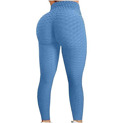 Pantalones de Yoga de Cintura Alta para Mujer Control de Barriga Leggings de Botín Adelgazantes Entrenamiento Correr Medias de Levantamiento de Glúteos (Color : Blue, Size : 3XL)