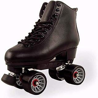Noir YYSDH Roller Skates Quad pour Femmes Hommes Haut-Top Roller Sports int/érieur et ext/érieur Chaussures