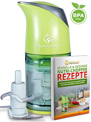 NUTRI-CHOPPER Multizerkleinerer elektrisch | Universalzerkleinerer für Nüsse, Zwiebel, Obst & Gemüse, Fleisch - 400 Watt Zerkleinerer | 4-Klingen Edelstahl | Mixbehälter (500ml) - BPA-frei