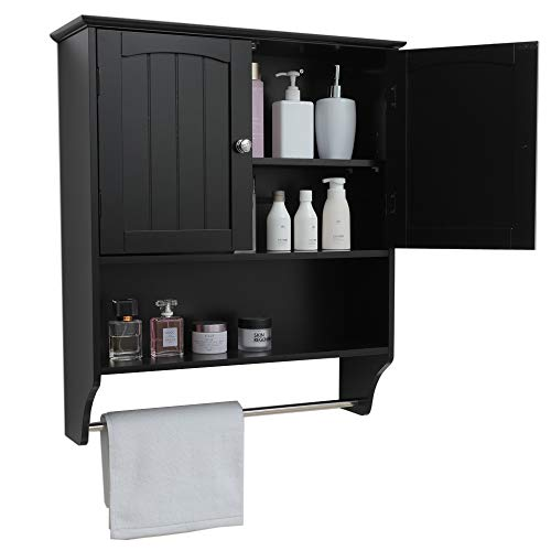 Iwell Black Wall Bathroom Cabinet with 1 Adjustable Shelf & Towels Bar, Over The Toilet Space Saver Storage Cabinet, Medicine Cabinet with 2 Doors, Cupboard YSG005H