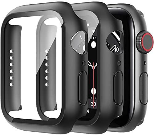 Suoman Pacote com 2 capas compatíveis com Apple Watch SE Series 6 5 4 44 mm, protetor de tela de vidro temperado 9H + capa protetora completa rígida para iWatch 44 mm – preta
