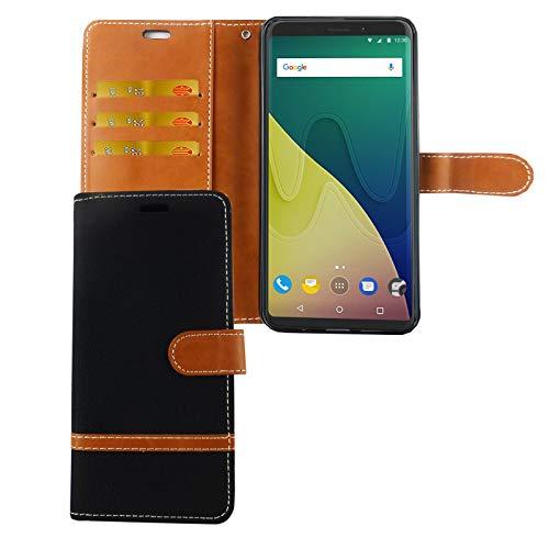 König Design Handy-Hülle Kompatibel mit Wiko View XL Schutz-Tasche Hülle Cover Kartenfach Etui Wallet Schwarz