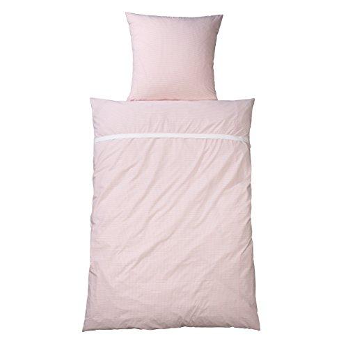 WELLYOU, Juego/Ropa de Cama para bebés, 100% algodón, Ropa de Cama para niñas Rosa Cuadros Vichy (135x200)