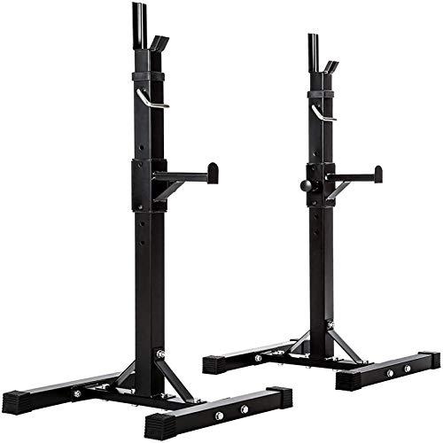 Squat Rack Soporte de Peso Ajustable Gym Squat Barbell Bar Power Stand 11X Altura Ajustable MAX 200Kg Negro A